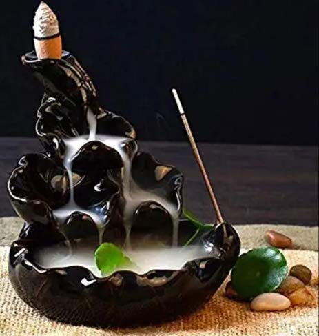 Nantan polyresin Decorative Smoke backflow Incense Burner/Incense Holder with 10 backflow Scented Cones for Fragrance for Office| Home Decor|Gift |Pooja ghar