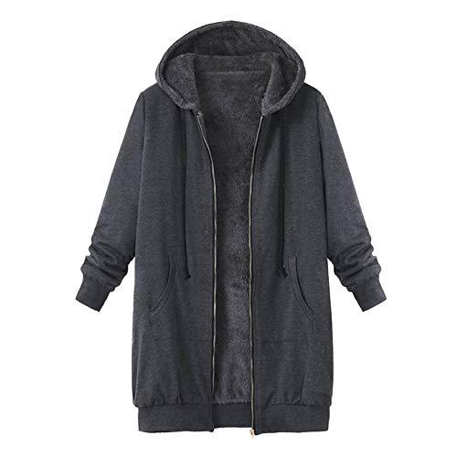 iHENGH Damen Herbst Winter Bequem Mantel Lässig Mode Jacke Frauen Plus Size Womens Winter Warm Outwear Solide Kapuze Taschen Vintage Mäntel(Grau, M)
