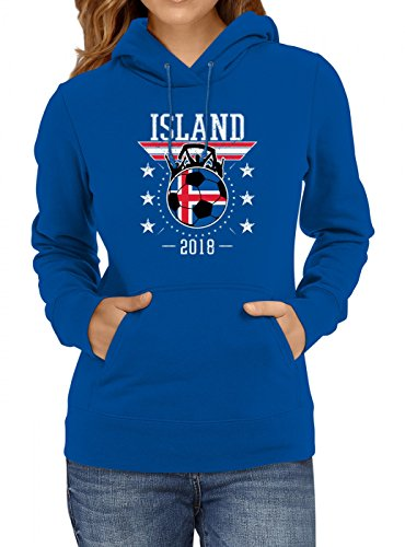 Shirt Happenz Island Weltmeisterschaft 2018#19 Premium Hoodie Fan Trikot Fußball WM Nationalmannschaft Frauen Kapuzenpullover, Farbe:Blau;Größe:L