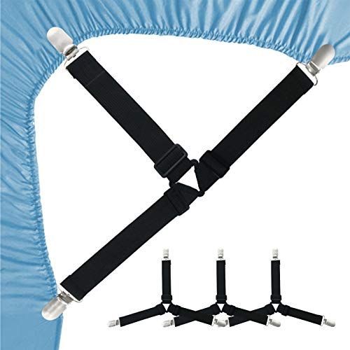 Bed Sheet Fasteners, 4PCS Bed Sheet Holder Straps, Adjustable Triangle Non-Slip Elastic Mattress Clips Keeping Sheets in Place with Heavy Duty Suspenders Grippers for Bedding Sheets Sofa Cushion