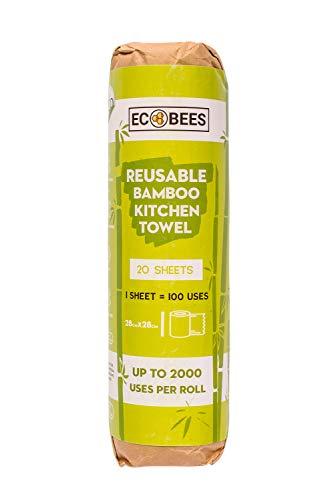 EcoBees Rollo de Cocina de bambú Reutilizable, Toallas Gruesas y absorbentes, se Puede Lavar a máquina hasta 2000 Veces, sin Embalaje de plástico