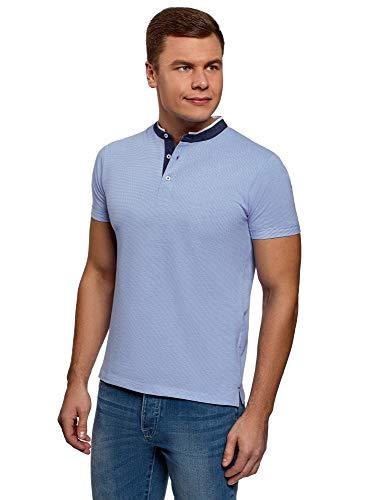oodji Ultra Hombre Polo de Algodón con Cuello Mao, Azul, ES 50 / M