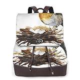 SGSKJ Mochila de Cuero Mujer Bolso Pájaro Sentado Nido Con Huevos Estudiante Casual Bolsa La Universidad Bolsa de Viaje de Cuero Mochila Mujer