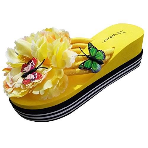 Sandalias y Chancletas de tacón Alto Plataforma para Mujer Patrón de Mariposa de Moda Flor Zapatilla Playa Zapatos de Verano Confort Transpirable riou Rosa 36-40