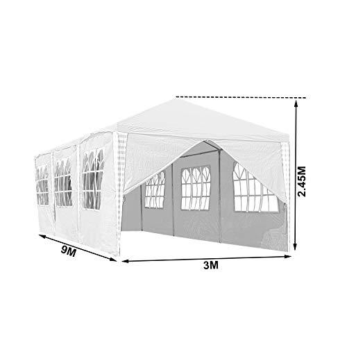 Hengda 3x9m Pavillon UV-Schutz weiß Partyzelt Material PE-Plane Gartenzelt Hochwertiges mit 8 Seitenteilen für Hochzeit Party Garten Markt - 3
