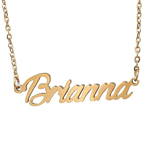 HUAN XUN Gold Color Plated Cursive Name Necklace, Brianna