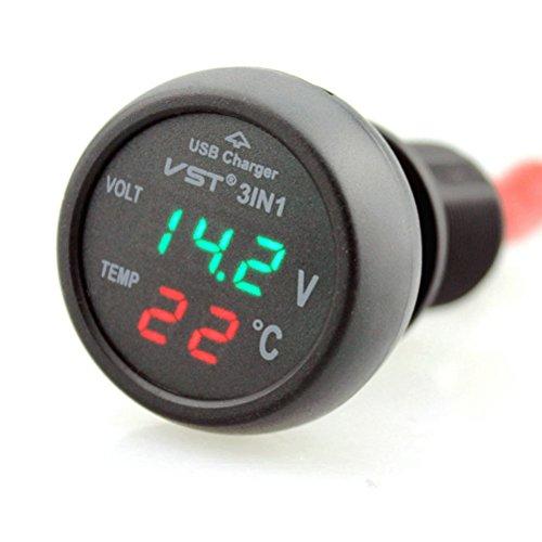 PIXNOR 12-24V KFZ-Zigarettenanzünder mit USB-Anschluss VoltmeterThermometer(Green+Red)