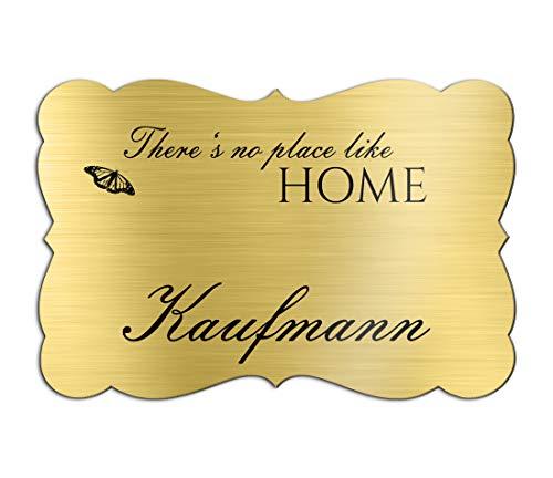 Klingelschild Türschild mit Gravur 12x7,5 cm versch. Farben und Edelstahl oder Messing-Optik selbstklebend Briefkasten-Schild Namensschilder für die Haustür mit Namen und Motiven