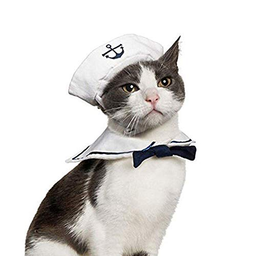 TEHWDE Cute Small Dog Clothes Pet Halloween Sailor Suit,with Cloak and Sailor Hat for Dog and Cat Birthday, Role Playing, Holiday Party-Basic Halter Harnesses