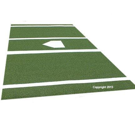 Premium 12  X 6  Baseball Softball Hitting Mat Green Turf- Foam Backing & Permanent Plate