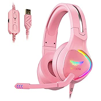 Nivava K12 USB Gaming Headset for PC PS5 7.1 Surround Sound PS4 Headset with Noise Cancelling Microphone Over-Ear Headphone with Soft Memory Earpads RGB LED Lights for Computer Laptop Mac Pink