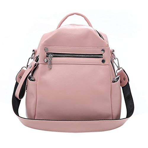 Uticon Backpack,Women Soft Faux Leather Waterproof Backpack Solid Color Zipper Tote Shoulder Bag - Pink