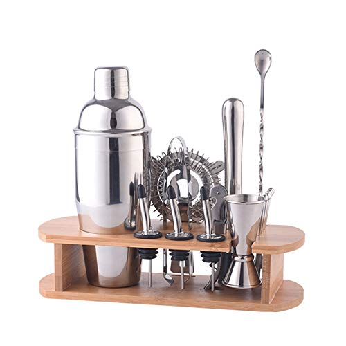 Cocktail Shaker Tool Set,16-Piece Bartender Kit with Stand for Drink Mixing Bar Tools, Shaker, Jigger, Strainer, Bar Mixer Spoon, Tongs, Bottle Opener, Best Bartender Kit for Beginners