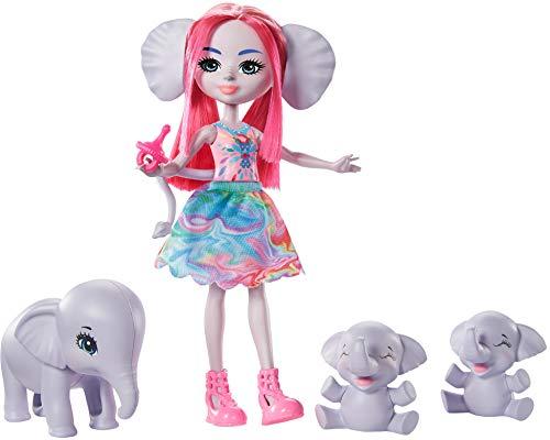 Enchantimals Sunny Savanna Muñeca Esmeralda Elephant con familia de elefantes mascota de juguete (Mattel GTM30)