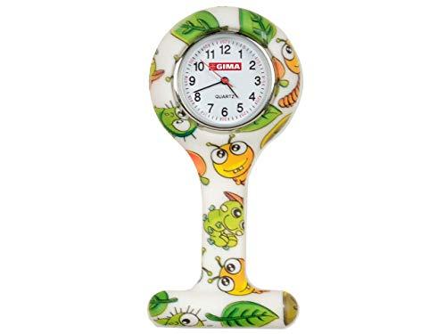 Uhr für Krankenpfleger aus Silikon, rundes Zifferblatt, mit Raupen-Bildern.