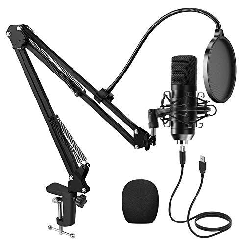 PREUP USB Micrófono Juegos de Micrófonos Profesionales para Podcasts con Soporte de Micrófono, Amortiguador, Parabrisas y Filtro Pop para Grabadora, Estudio, Transmisión, Youtube y Video etc.