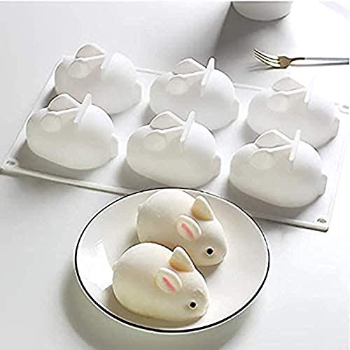 Rabbit Shape Silicone Mould 6 Cavity of 3D Bunny Cake Baking Mold DIY Chocolate Mould Soap Mould Dessert Baking Bakeware Mold for Cake Soap Candy Jelly Pudding