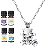Wild Essentials Skull Tophat Essential Oil Diffuser Necklace Gift Set Includes Aromatherapy Pendant, 24' Stainless Steel Chain, 6 Lava Stones and Pure Oils (Lavender, Peppermint, Inner Calm and Zen)