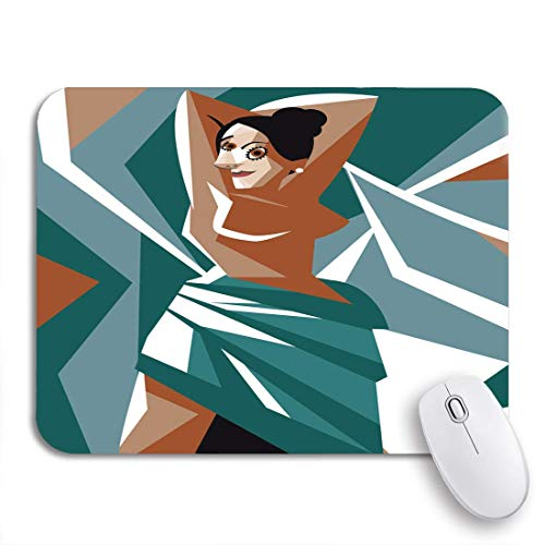 Gaming Mouse Pad Künstler kubistische Frau Malerei Avignon Bordell Cartoon Kubismus Dadaismus rutschfeste Gummi Backing Mousepad für Notebooks Computer Maus Matten