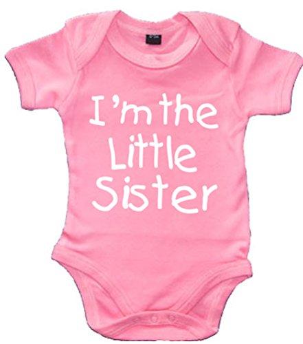 i'm The Little Sister personnalisé avec nom sur le dos 'Bubblegum Rose Body bébé Blanc avec paillettes Print (veuillez aller ajouter Cadeau Options.. Enter Nom dans la section Message cadeau gratuit... et faire des économies) - Rose -