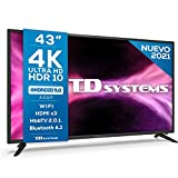 TD Systems K43DLG12US - Televisores Smart TV 43 Pulgadas 4k UHD Android 9.0 y HBBTV, 1300 PCI Hz, 3X HDMI, 2X USB....