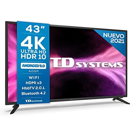 TD Systems K43DLG12US - Televisores Smart TV 43 Pulgadas 4k UHD Android 9.0 y HBBTV, 1300 PCI Hz, 3X HDMI, 2X USB. DVB-T2/C/S2, Modo Hotel. Televisiones