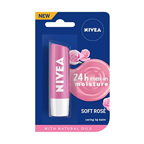 NIVEA Lip Balm, Soft Rose, 4.8g