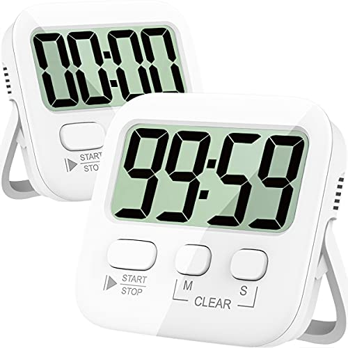 Timers, Kitchen Timer for Cooking, Digital Timer for Kids, Egg Timer, Magnetic Stopwatch Clock Timer for Classroom, Teacher, Study, Exercise, Oven, Baking, Desk - AAA Battery Included - 2 Pack