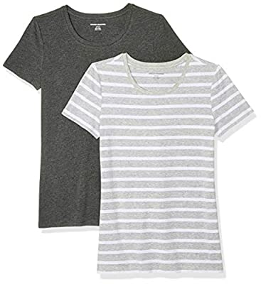 Amazon Essentials Women's 2-Pack Classic-Fit Short-Sleeve Crewneck T-Shirt, Light Grey Mariner Stripe/Charcoal Heather, Medium