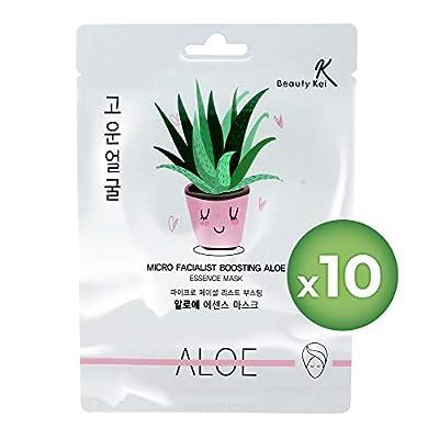 Face Mask Korean Sheet Masks Skin Care Aloe Vera Deep Moisturizing Anti-Aging Anti-Wrinkle Deep Hydration Face Mask Bundle (Pack of 10) from Coem