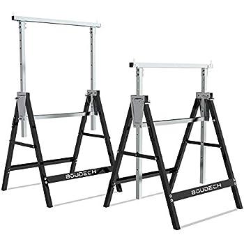 Set di 2 cavalletti telescopici 300kg pieghevoli ideali come trabattello, pontile, banco da lavoro e supporto taglia travi.