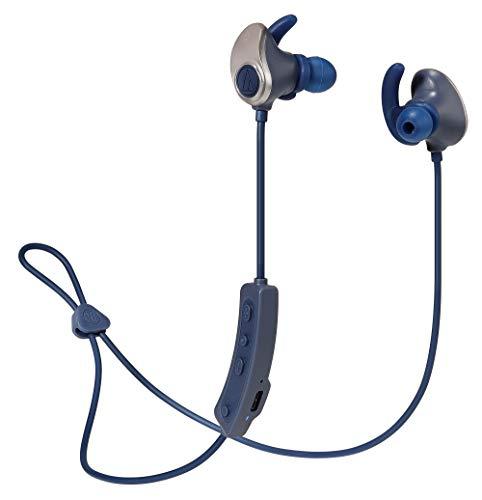 audio-technicaワイヤレスイヤホン防水/スポーツ向け4GBメモリ内蔵Bluetoothリモコンマイク付きゴールドネイビーATH-SPORT90BTGNV