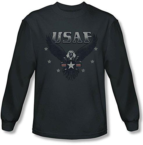 Air Force - - Entrant manches longues T-shirt pour hommes, Large, Charcoal