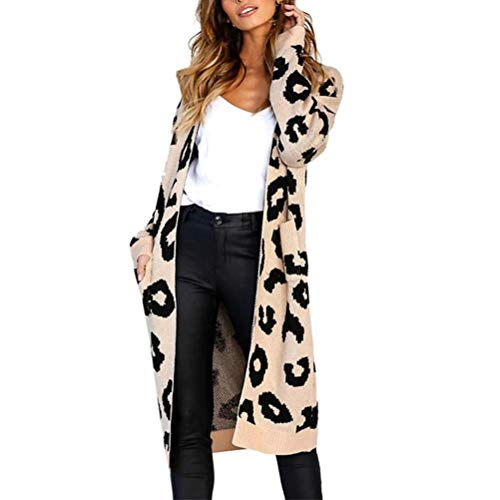 Beikoard Damen Strickjacke Mode Frauen Strickdruck Langarm Strickjacke T-Shirt Tops Pullover Mantel Langärmelige Cardigan mit Leopardenmuster(Khaki,Large)