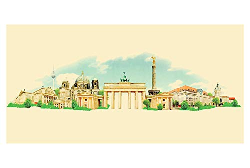 LimeWorks Badetuch, 70x140 cm, Berlin Skyline Aquarell, Made in EU