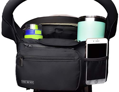 Universal Stroller Organizer with Insulated Double Cup Holder - Universal Fit Baby Strollers Accessories - Detachable Pouch, Multiple Pockets, Extra Storage, Easy Installation