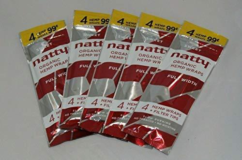 5 Packs NATTY Organic Hemp Wraps Sweet 20 Papers + Filter Tips Full Width