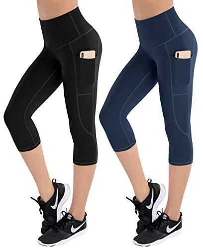 LifeSky High Waist Yoga Pants Workout Capri Leggings für Frauen mit Taschen, Bauchkontrolle, weiche Hose, L