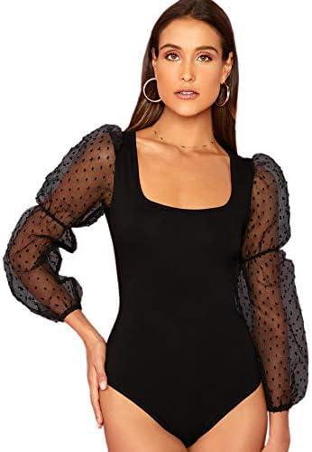 WDIRARA Women s Elegant Mid Waist Square Neck Bishop Sleeve Skinny Bodysuit Black M product image
