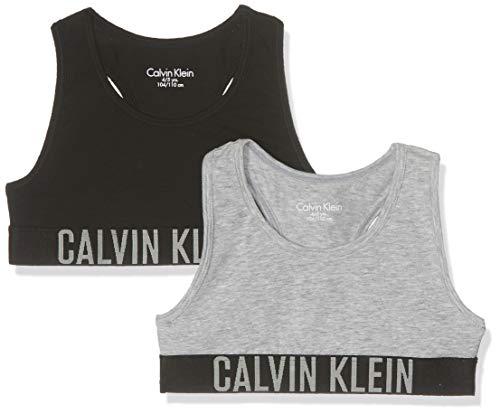 Calvin Klein Mädchen 2 Pack Bralette Bustier, Grau (1 Grey Heather/ 1 Black 029), One Size (Herstellergröße: 12-14)
