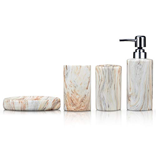 Fimary Marble Bathroom Accessories Set Ceramic - Including 4 Piece White Marble Bathroom Accessories Set Soap Dispenser, Toothbrush Holder, Tumbler, Soap Dish, The Best Gift Choice