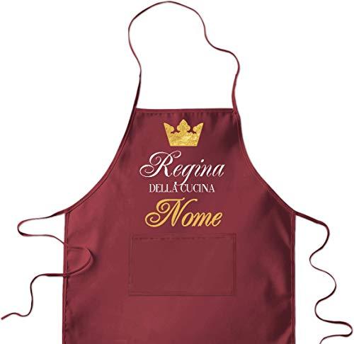 LaMAGLIERIA Grembiule da Cucina Personalizzato con Nome 'Regina della Cucina' cod.apr12 - Grembiule da cuoca, Bordeaux