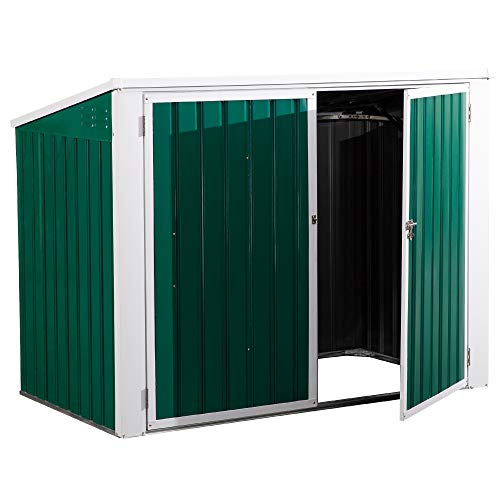 Outsunny Cobertizo de Jardín Exterior para 2 Contenedores de Basura Caseta de Herramientas con Tapa de Elevación Neumática Acero 173x100x134/114 cm Verde