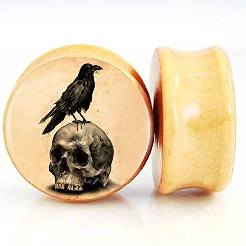 2 Unids/Lote Skull Oreja De Madera Tapones Y Túneles Ear Streiller Expander Saddle Plug Piercing (Metal Color : 20mm)
