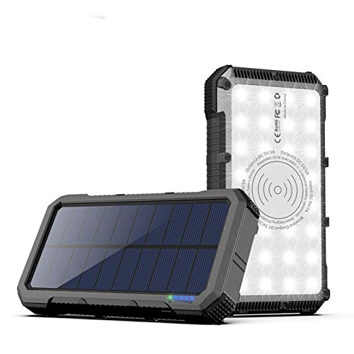 Solar Power Bank 26000mAh Quick Charge 3.0 Solar Charger, 15W High-Speed Cell Phone Charger with Super Bright 28 LEDs, Type-C, Qi Wireless Charging & 4 USB Output for iPhone Samsung