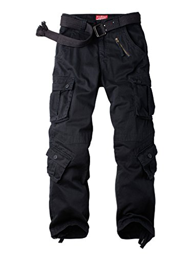 AKARMY Must Way Men's Cotton Casual Military Army Camo Combat Work Cargo Pants with 8 Pockets Black 32