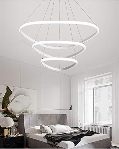 ZHLIN Moderne Led Pendelleuchte Ring,75w Led 3-Ring Acryl Höhenverstehbar Hängelampe Kronleuchter Hängeleuchte Wohnzimmer Deckenleuchte Schlafzimmer Wohnzimmer Küche, White