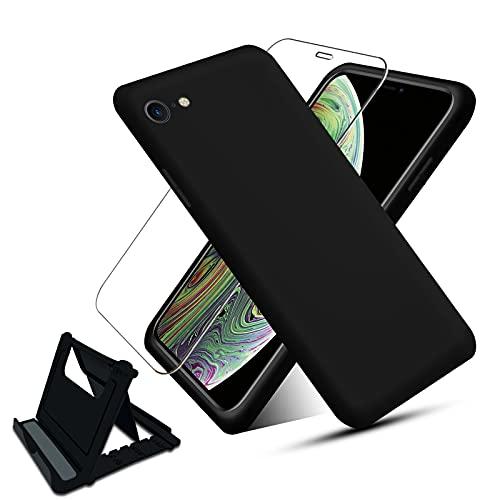 NUDGE Funda para iPhone 6 6s (4.7 ) con [Vidrio Templado HD+Soporte Teléfono],Estuche Silicona Líquida, Carcasa a Prueba de Golpes con Forro de Microfibra -Negro