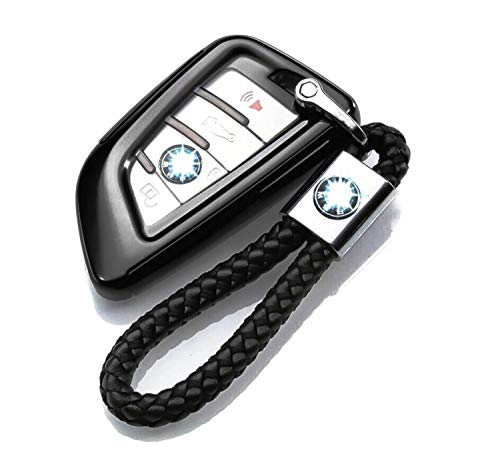 TOP Soft TPU Flip Remote Car Key Case with Weave Leather Keychain Accessories For BMW X3 5 Series (Black)