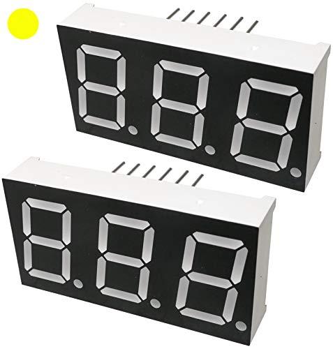 AERZETIX - Juego de 2 - Pantalla digital - módulo - paneles luminoso - display - 19x37.6x8mm - LED 7 segmentos - amarillo - THT - número de dígitos 3 - C46239